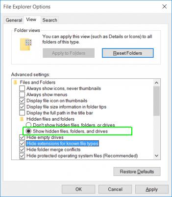 Hidden files and folders