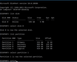 set active using diskpart